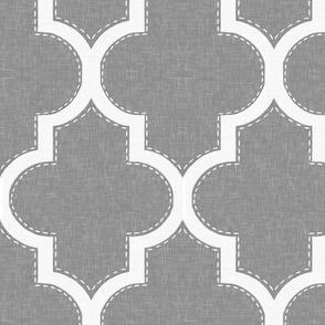 Stitched Quatrefoil in Cashmere Linen