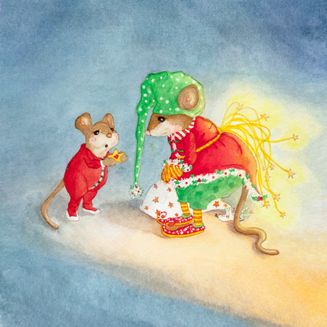 A Gift for the Yuletide Mouse fabric by dreamtreefineart on Spoonflower - custom fabric