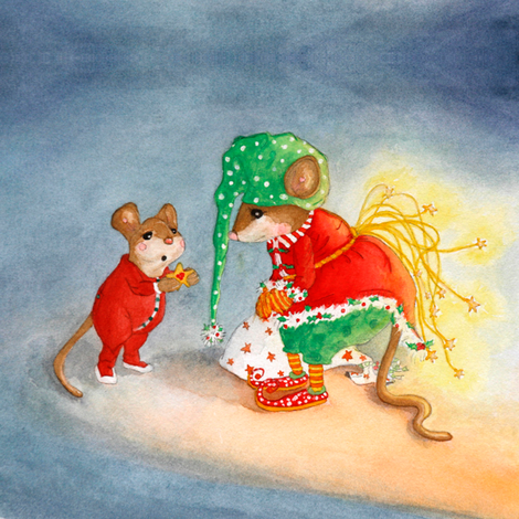 A Gift for the Yuletide Mouse fabric by dreamtree on Spoonflower - custom fabric