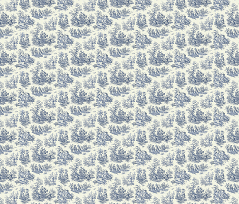 Blue Toile de Jouy fabric by megec on Spoonflower - custom fabric