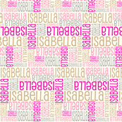 Personalised Name Fabric - Cream Pink Grey Coffee