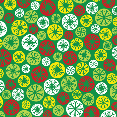 Festive Snow Daze (Green) fabric by robyriker on Spoonflower - custom fabric