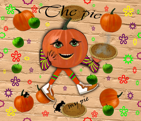 Pumpkin pie fabric by kittie_vanderwalt on Spoonflower - custom fabric