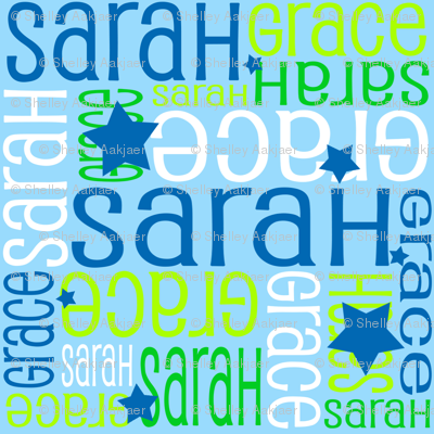Personalised Name Fabric - Stars in Blue Green White