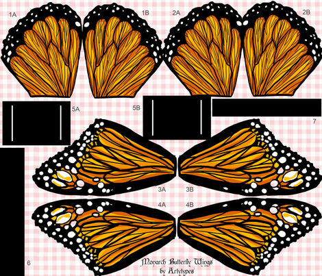 Monarch Butterfly Wings Kit fabric by artytypes on Spoonflower - custom fabric
