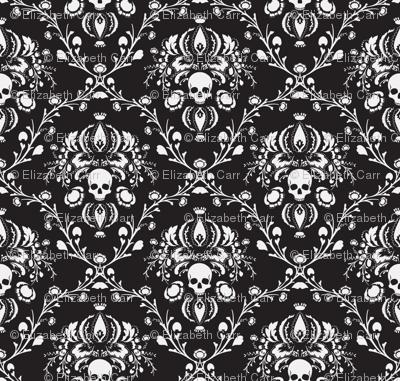 Black and White Skull Damask fabric - elizabeth - Spoonflower