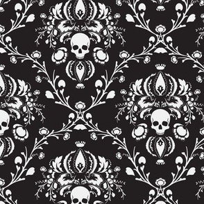 Black and White Skull Damask