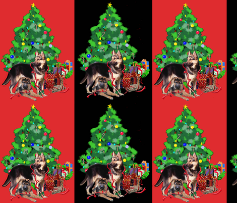 German_shepherd_christmas fabric by dogdaze_ on Spoonflower - custom fabric