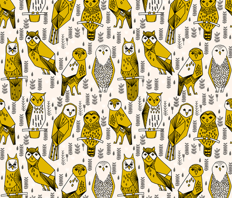 Parliament of Owls - Champagne/Mustard/Charcoal/Black fabric by andrea_lauren on Spoonflower - custom fabric