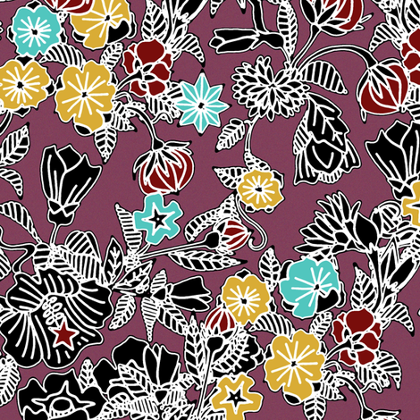 cloisonne flowers berry fabric by scrummy on Spoonflower - custom fabric