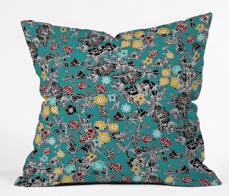 cloisonne flowers teal