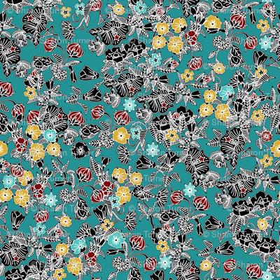 cloisonne flowers teal