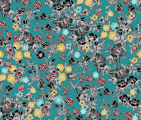 cloisonne flowers teal fabric by scrummy on Spoonflower - custom fabric
