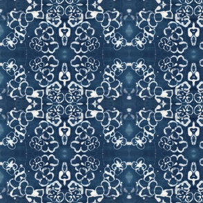 Damask Batik Indigo Flower Wallpaper
