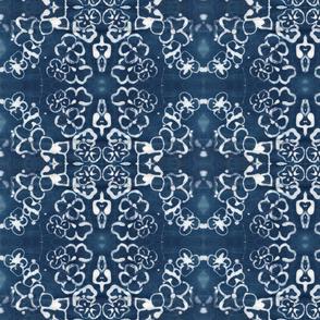 Damask Batik Indigo Flower Wallpaper