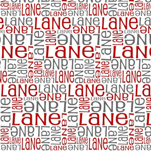 Personalised Name Fabric - White with Crimson and Grey