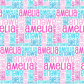 Personalised Name Fabric - Pink and Blue