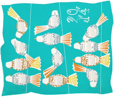 Hanging About Calendar 2014 fabric by sary on Spoonflower - custom fabric