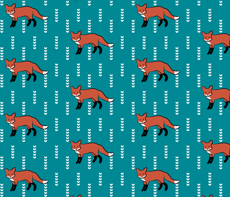 FoxOnTeal fabric by mrshervi on Spoonflower - custom fabric