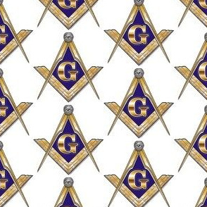 "Large 2"" Masonic Square Compass Gold White"