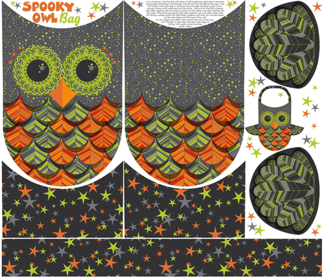 owl treat bag fabric by cjldesigns on Spoonflower - custom fabric