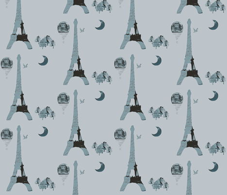 Eiffel Tower Gray-ch fabric by karenharveycox on Spoonflower - custom fabric