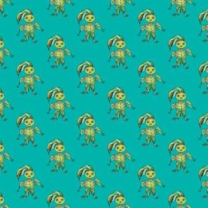 WOODLAND CREATURES LEAFY ELF on turquoise