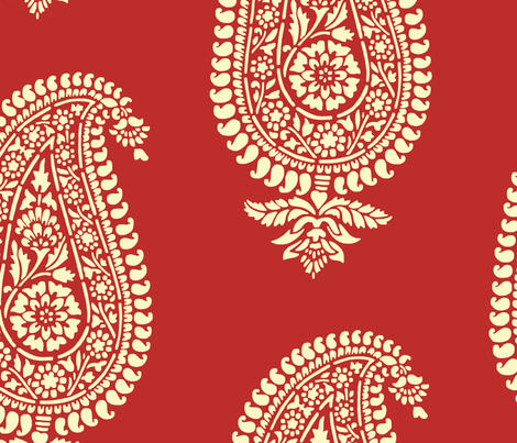 Holiday Red Paisley Block Print Wrapping Paper fabric ...