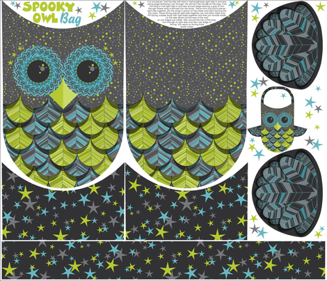 owl treat bag blue fabric by cjldesigns on Spoonflower - custom fabric