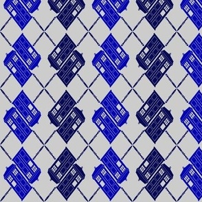 Blue Box Argyle (on grey)