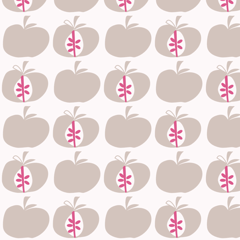 Apples Dusty Pink fabric by leeandallandesign on Spoonflower - custom fabric