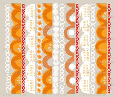 2016 citrus slice tea towel calendar-21 inch