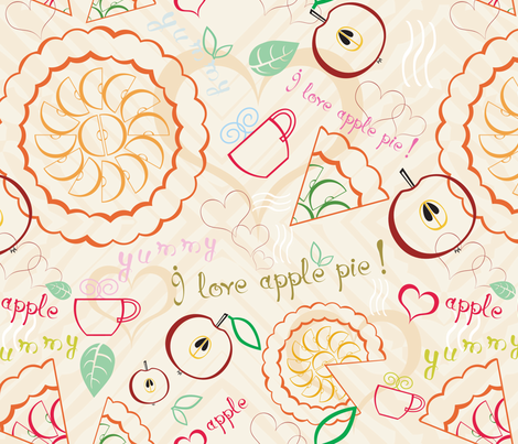 Apple pie and tea fabric by ksanask on Spoonflower - custom fabric