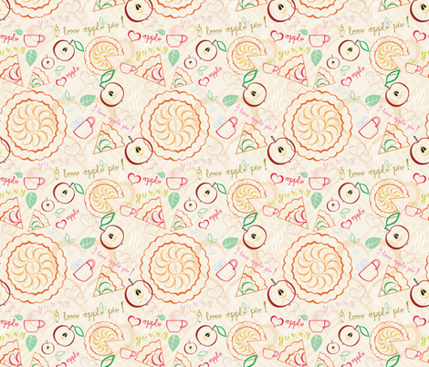 Apple pie and tea fabric by ksanask on Spoonflower - custom fabric
