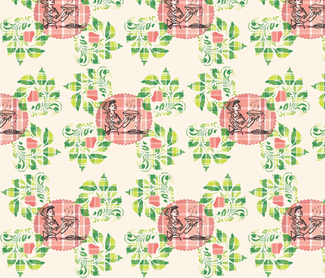 Strawberry Rhubarb Plaid Pie fabric by kfrogb on Spoonflower - custom fabric