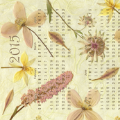 2015 calendar Anemones Tea Towel