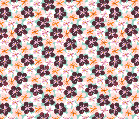 Cheery Cherry Blossoms fabric by nadiahassan on Spoonflower - custom fabric