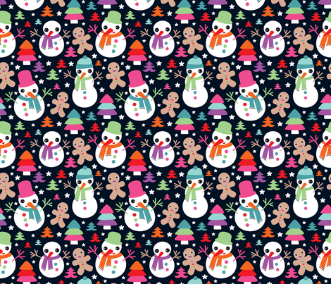 Christmas snow man and ginger bread man fabric by littlesmilemakers on Spoonflower - custom fabric