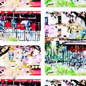 Two Bicycles and a Tree in Paris Watercolor
