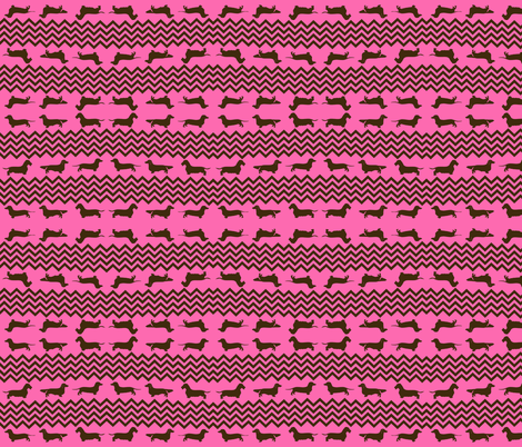 Weenie Chevron in Hot Pink and Brown