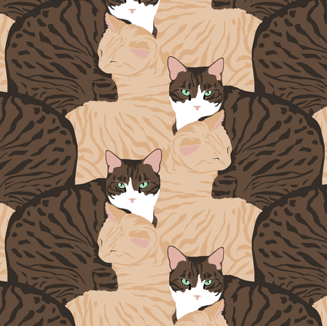 Kitty Cuddle Stripe fabric by pond_ripple on Spoonflower - custom fabric