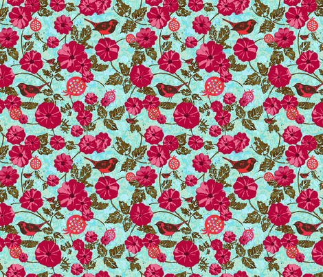 tanager garden fabric by keweenawchris on Spoonflower - custom fabric