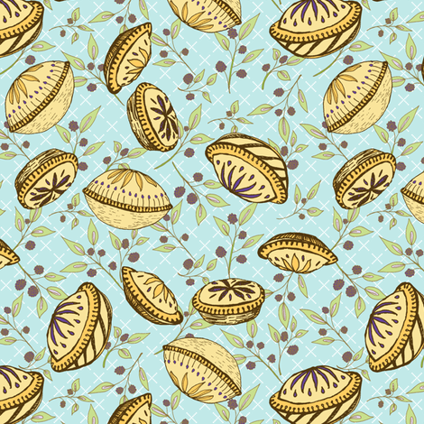 Brazenberry Pastry Treats on Pale Blue Lattice - Antique fabric by rhondadesigns on Spoonflower - custom fabric