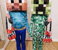 Minecraft Inspired Steve and Creeper Costume Patterns - Knit