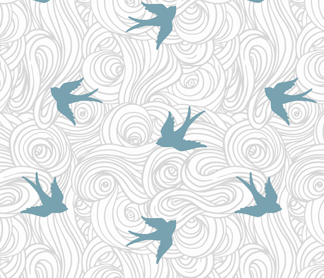 Ocean Flight in Overcast Calm and Sea fabric by willowlanetextiles on Spoonflower - custom fabric