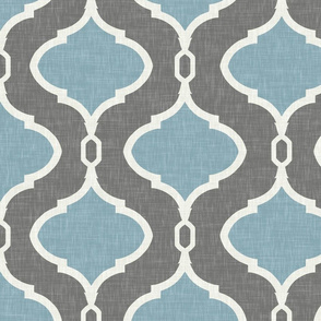 Link Quatrefoil in Sea and Cashmere Gray