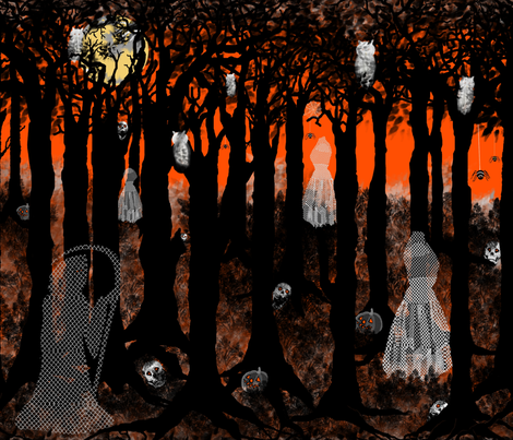Haunted Woods. fabric by art_on_fabric on Spoonflower - custom fabric