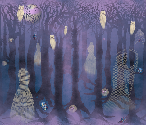 At Spooky Foggy Twilight, the Games Begin... fabric by art_on_fabric on Spoonflower - custom fabric