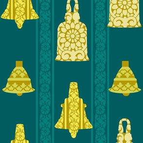 Holiday Temple Bell Block Print Wrapping Paper