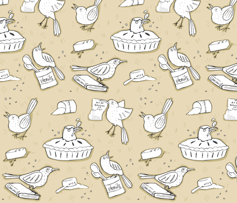 Blackbird Pie fabric by pinkyw on Spoonflower - custom fabric